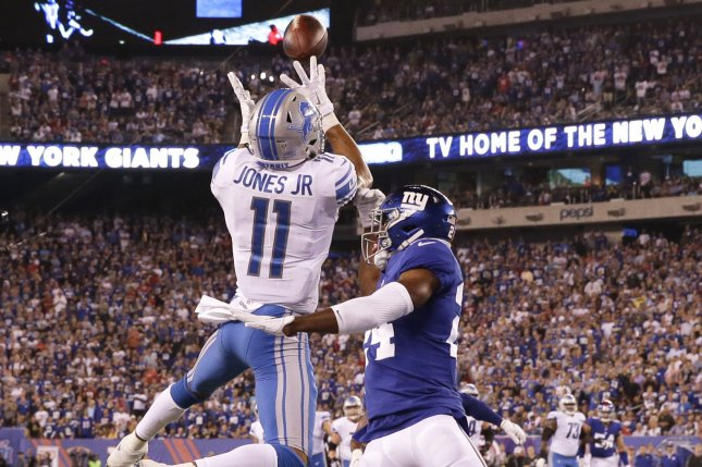 Detroit Lions wide receiver Marvin Jones Jr. (11) catches a 27-yard touchdown pass over ex-New York Giants cornerback Eli Apple in the first quarter in Week 2 of the NFL season on September 18, 2017 at MetLife Stadium in East Rutherford, New Jersey. File photo by John Angelillo/UPI