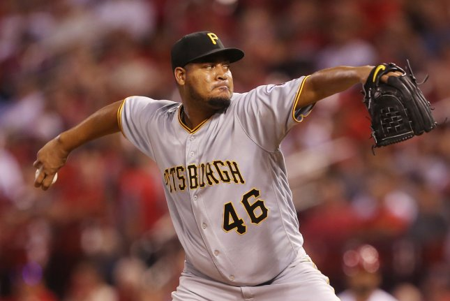 Pittsburgh Pirates starting pitcher Ivan Nova delivers a pitch to the St. Louis Cardinals in the third inning on August 28 at Busch Stadium in St. Louis. Photo by Bill Greenblatt/UPI