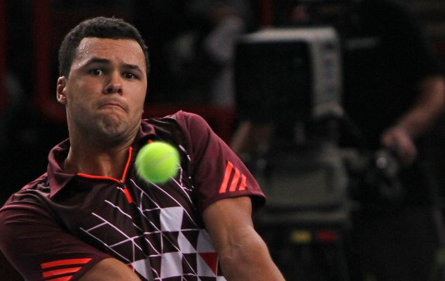 Jo-Wilfried Tsonga, shown in a tournament last November, was among second-round winners Wednesday at the Open 13 tournament in France. Tsonga is the No. 1 seed for the event. UPI/David Silpa