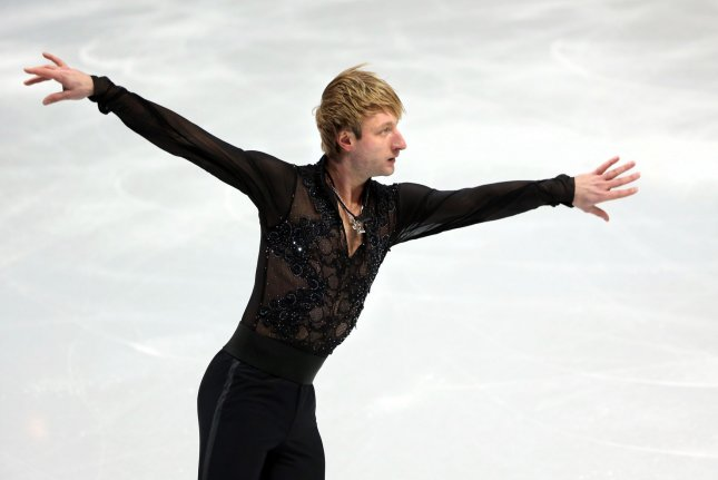 Evgeni Plyushchenko of Russia performs during the figure skating team events: men free skating, as part of the Winter Olympics Games in Sochi, Russia on February 9, 2014. Russia won its first gold medal in the inaugural team event, team Canada took silver and team USA the bronze. (UPI/Maya Vidon-White)