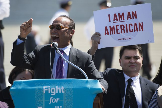 Rep. Luis Gutierrez, D-Ill., speaks outside of the Supreme Court in Washington, D.C., on Monday, as the court hears oral arguments in the case of United States v. Texas -- a legal challenge to the Deferred Action for Parents of Americans (DAPA) program and the expansion of the Deferred Action for Childhood Arrivals (DACA) program. Photo by Kevin Dietsch/UPI
