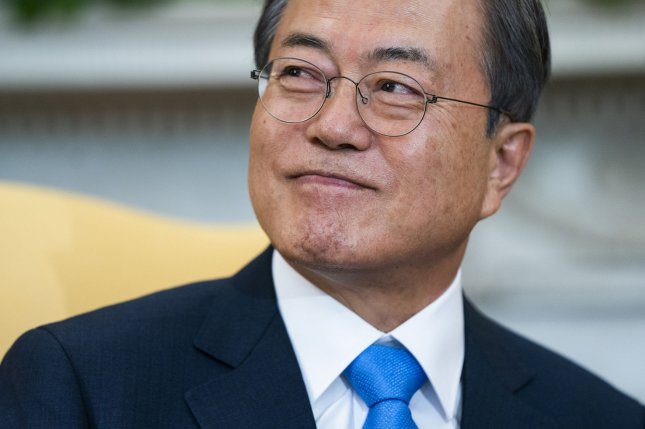 South Korean President Moon Jae-in said the two Koreas are responsible for stalled inter-Korea family reunions. File Photo by Jim Lo Scalzo/UPI