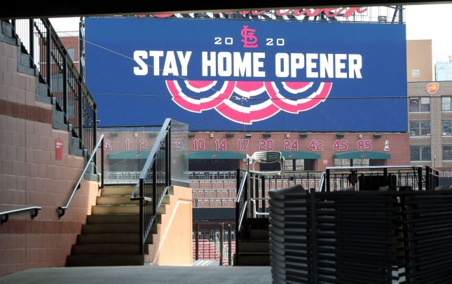 The scoreboard welcomes an empty Busch Stadium on what should be Opening Day of the 2020 season in St. Louis on April 2. Coronavirus fears have put the MLB season on hold. St. Louis was scheduled to play Baltimore with an expected crowd of 49 thousand. Photo by Bill Greenblatt/UPI