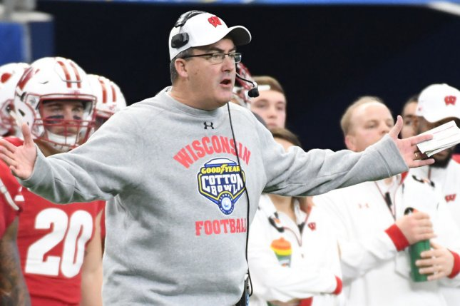 Wisconsin coach Paul Chryst is among 12 members of the Badgers football program who  tested positive for COVID-19 in the last five days. File Photo by Ian Halprin/UPI
