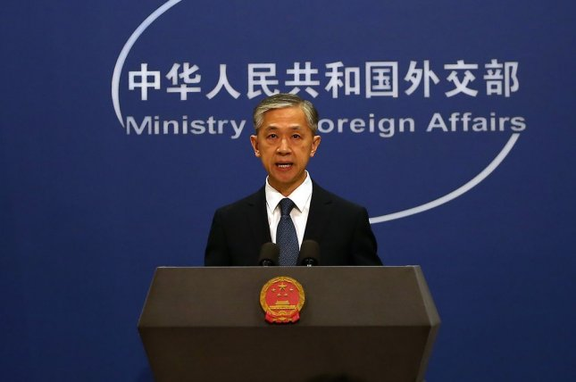 """Chinese foreign ministry spokesman Wang Wenbin said Thursday at a regular press briefing that Beijing will continue to """"firmly safeguard its national sovereignty, security and development interests."""" File Photo by Stephen Shaver/UPI"""