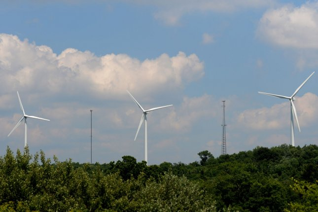 The angles of wind turbines relative to the horizon -- their yaw -- must continually adjust to prevent their wakes from disrupting the efficiency of their neighbors. File Photo by Pat Benic/UPI