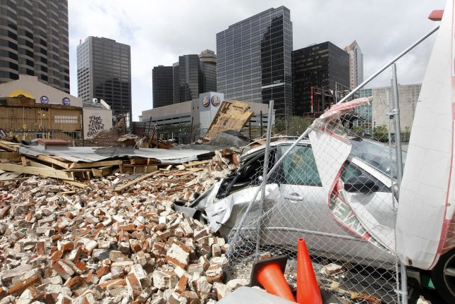 A building in downtown New Orleans, La., is seen damaged in the aftermath of Hurricane Ida on August 30. Photo by AJ Sisco/UPI