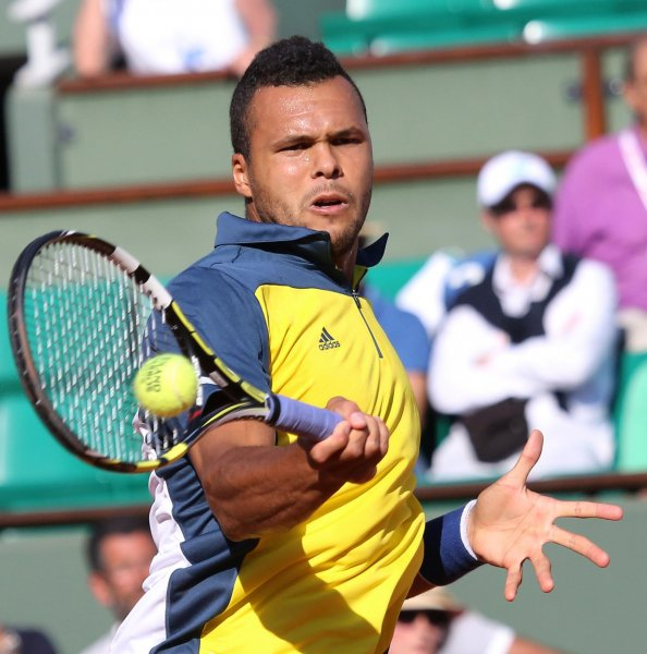Jo-Wilfried Tsonga, shown at the 2013 French Open, teamed with Richard Gasquet for a doubles win Saturday that put France ahead 3-0 in its best-of-five Davis Cup series against Australia. UPI/David Silpa