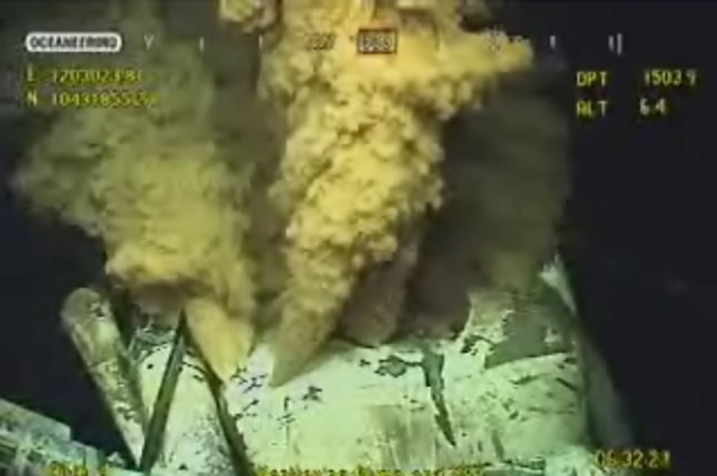 A frame grab of a video stream of operations to stop the Deepwater Horizon oil spill is seen on May 28, 2010. BP executed its top kill process, which places heavy kill mud into the oil well in order to reduce pressure and the flow of oil from the well, before a capping system was deployed. UPI/BP