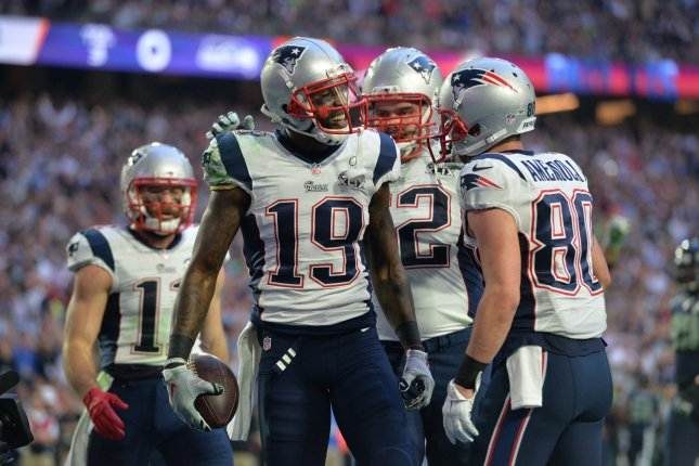 New England Patriots wide receiver Brandon LaFell (19) ceebrates after catching an 11-yard touchdown pass against the Seattle Seahawks in the second quarter of Super Bowl XLIX at University of Phoenix Stadium in Glendale, Arizona, February 1, 2015. Photo by Kevin Dietsch/UPI
