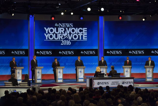 From left Republican Presidential candidates John Kasich, Jeb Bush, Marco Rubio, Donald Trump, Ted Cruz, Ben Carson, and Chris Christie stand at their podiums for the start of the Republican debate at Saint Anselm College in Manchester, New Hampshire on February 6, 2016. New Hampshire will hold the first primary in the nation on February 9th. Photo by Matthew Healey/UPI