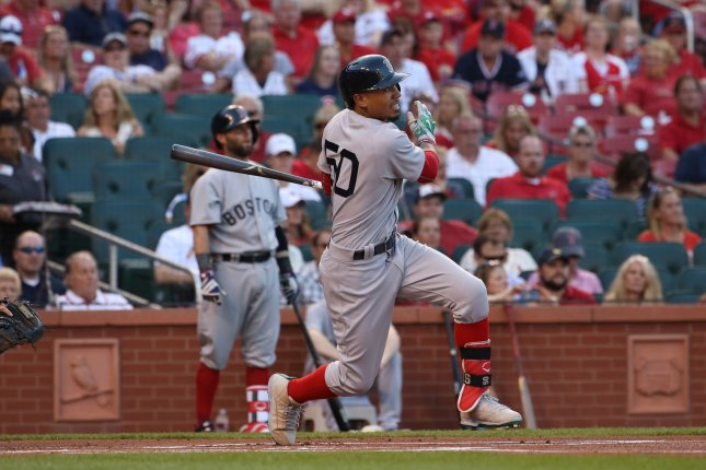Boston Red Sox Mookie Betts leads off the game with a solo home run in the first inning against the St. Louis Cardinals at Busch Stadium in St. Louis on May 16, 2017. Photo by Bill Greenblatt/UPI