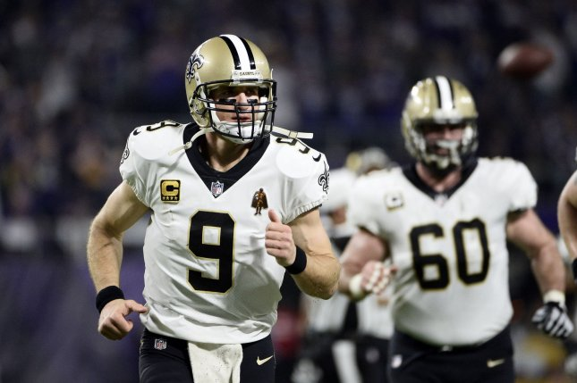 New Orleans Saints quarterback Drew Brees runs off the field after the first half of the NFC Divisional round playoff game against the Minnesota Vikings at U.S. Bank Stadium on January 14 in Minneapolis, Minn. Photo by Brian Kersey/UPI