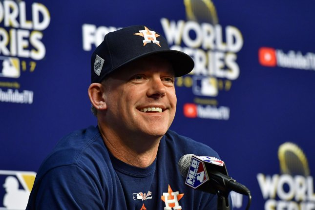 Houston Astros manager A.J. Hinch. File photo by David Tulis/UPI