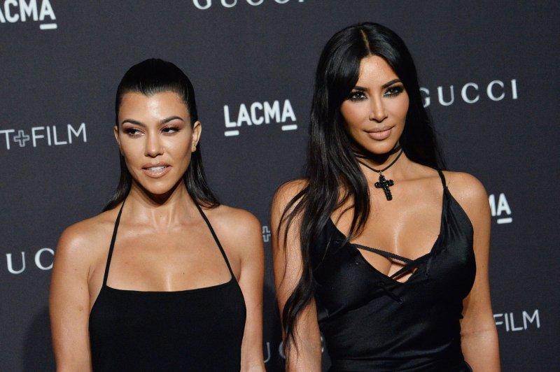 Kim Kardashian (R), pictured with Kourtney Kardashian, is grateful for her daughter North West's friendship with Kourtney's daughter. File Photo by Jim Ruymen/UPI