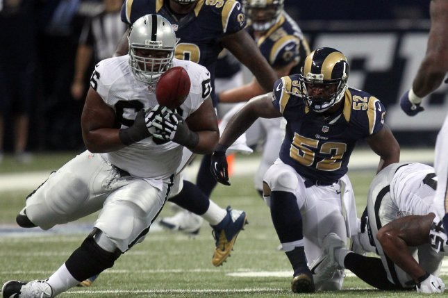 Oakland Raiders offensive lineman Gabe Jackson (L) was injured late in Thursday's joint practice with the Los Angeles Rams. File Photo by Bill Greenblatt/UPI