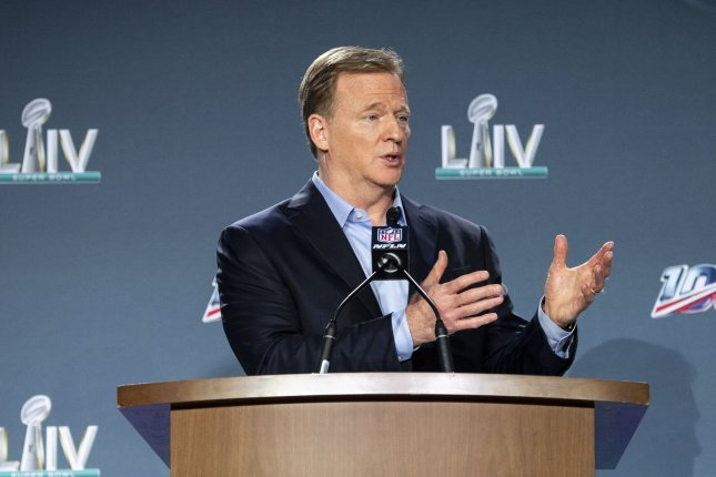 NFL Commissioner Roger Goodell, shown Jan. 29, 2020, informed the 32 clubs of the new policy Thursday in a memo. The league has encouraged players to get vaccinated but hasn't required it, per an agreement with the NFL Players Association. File Photo by Kevin Dietsch/UPI