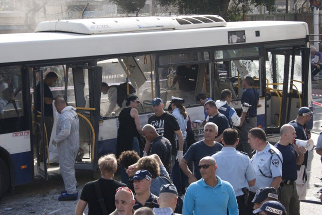 Israeli security forces respond to a bus bombing in central Tel Aviv, November 21, 2012. Ten people were injured in the blast that complicated diplomatic efforts for a ceasefire between Israel and Hamas in Gaza. UPI/Mati Milstein