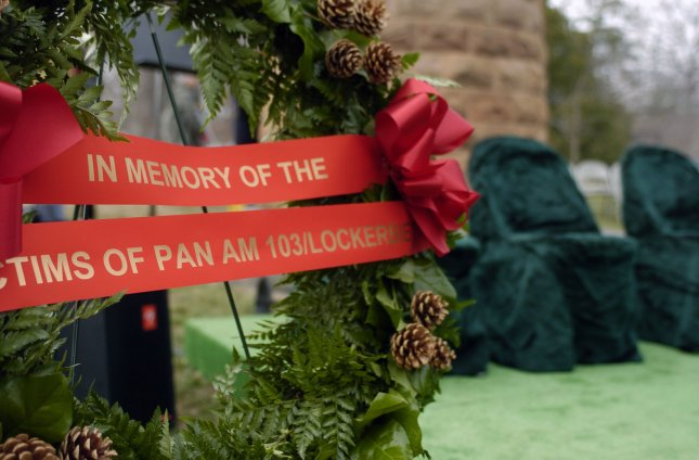 A wreath is placed at the 19th Arlington National Cemetery anniversary memorial service Dec. 21, 2007, for the victims of Pan Am Flight 103. Bombing of the plane by a Libyan convicted Jan. 31, 2001, killed 270 people. UPI/Alexis C. Glenn/File