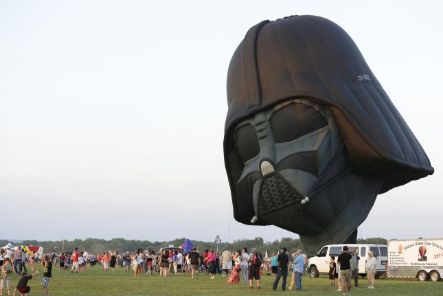 A Star Wars Darth Vader hot air balloon is prepared for flight at the 33rd annual QuickChek New Jersey Festival of Ballooning in association with PNC Bank at Solberg Airport in Readington, N.J. on July 25, 2015. File Photo by John Angelillo/UPI