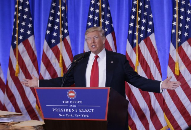 U.S. President-elect Donald Trump speaks at a press conference at Trump Tower on Wednesday in New York City. Photo by John Angelillo/UPI
