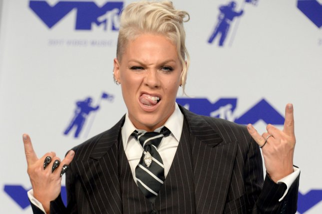 Pink arrives for the 34th annual MTV Video Music Awards on August 27. The singer has announced a new world tour that begins in March. File Photo by Jim Ruymen/UPI