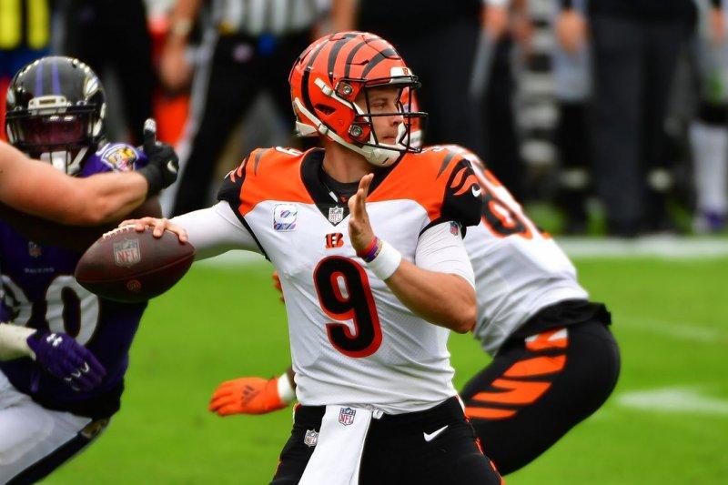 Cincinnati Bengals quarterback Joe Burrow said last week that his injured left knee is 80% to 85% healthy. File Photo by David Tulis/UPI