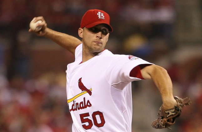 St. Louis Cardinals pitcher Adam Wainwright delivers a pitch to the Philadelphia Phillies in the first inning at Busch Stadium in St. Louis on September 19, 2007. (UPI Photo/Bill Greenblatt)