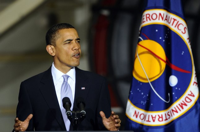 President Barack Obama speaks at the NASA Space Conference at the Kennedy Space Center on April 15, 2010. The president told a 6-year-old girl Feb. 11, 2016, that there has been no direct contact with life from other worlds during his administration. File Photo by Joe Marino-Bill Cantrell/UPI