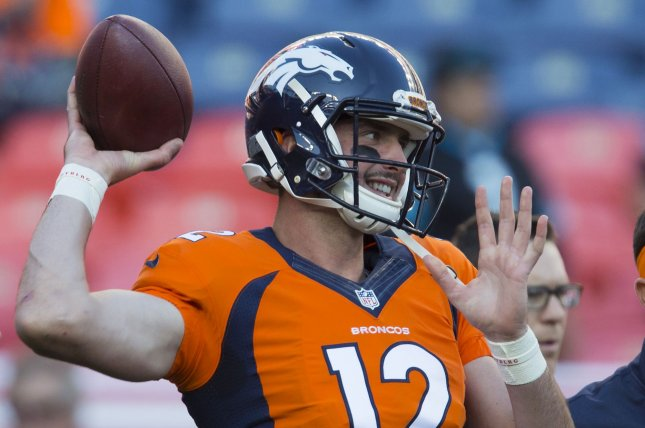 Paxton Lynch warms up at the NFL's season opener and Super Bowl 50 rematch at Sports Authority Field at Mile High in Denver on September 8, 2016. File photo by Gary C. Caskey/UPI