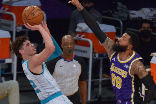 Charlotte Hornets point guard LaMelo Ball (L), shown March 18, 2021, was the No. 3 overall pick in the 2020 NBA Draft. He averaged 15.7 points, 6.1 assists and 5.9 rebounds per game. File Photo by Jim Ruymen/UPI