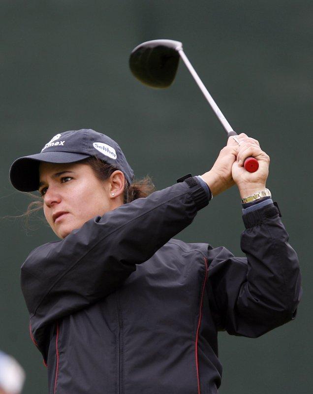 Lorena Ochoa hits a shot at the Sybase Classic in New Jersey May 17, 2009. (UPI Photo/John Angelillo)
