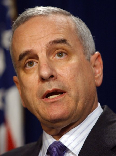 Minnesota Gov. Mark Dayton, who presides over a government that moves increasingly closer to a shutdown. (UPI File Photo/Roger L. Wollenberg)