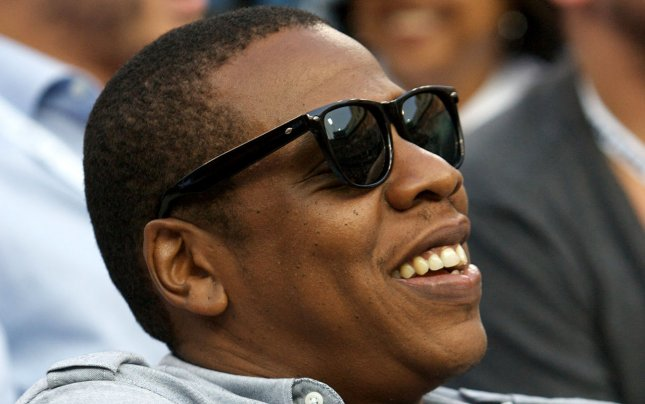 Recording artist Jay-Z watches the men's final game at the U.S. Open held at the National Tennis Center on September 12, 2011 in New York. UPI/Monika Graff