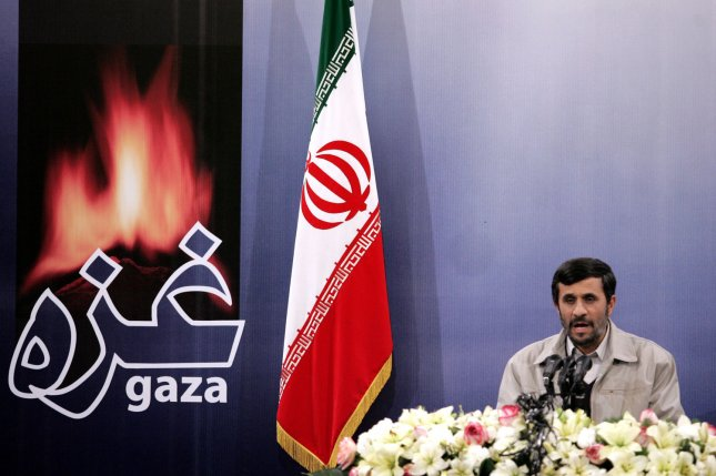 Iran's President Mahmoud Ahmadinejad speaks during his press conference in Tehran, Iran on January 15, 2009. Arabic word on left reads GAZA. (UPI Photo/Mohammad Kheirkhah)