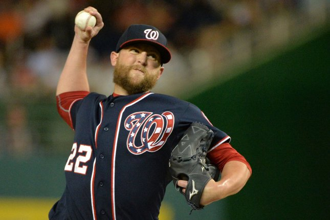 Washington Nationals relief pitcher Drew Storen pitches against the New York Mets in the eighth inning at Nationals Park in Washington, D.C. on September 9, 2015. The Mets defeated the Nationals 5-3. Photo by Kevin Dietsch/UPI
