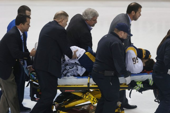 Nashville Predators Kevin Fiala is taken off ice on a stretcher, suffering a leg injury in the second period against the St. Louis Blues at the Scottrade Center in St. Louis on April 26, 2017. Photo by Bill Greenblatt/UPI