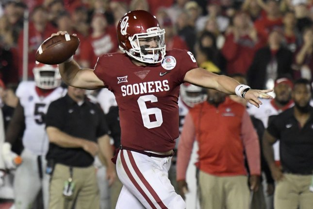 Oklahoma Sooners quarterback Baker Mayfield (6) looks to make a pass against the Georgia Bulldogs in the 2018 Rose Bowl game at the Rose Bowl in Pasadena, California on January 1, 2018. Photo by Juan Ocampo/UPI