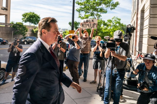 Paul Manafort arrives at federal court in Washington on June 15 to face arraignment on charges of witness tampering filed by special counsel Robert Mueller. Photo Ken Cedeno/UPI