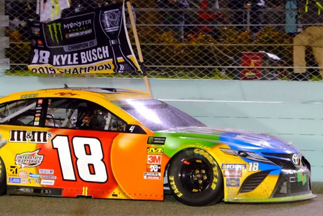 Kyle Busch took home his 58th career victory Sunday in Kansas City, Kan. File Photo By Gary I Rothstein/UPI