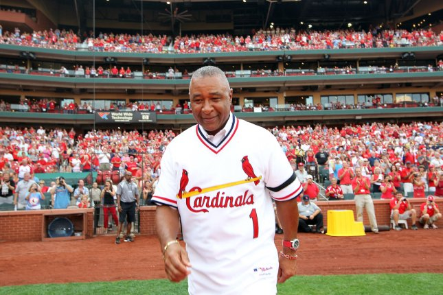 Former St. Louis Cardinals shortstop and member of the National Baseball Hall of Fame Ozzie Smith makes his way to homeplate after being introduced as part of the 1982 World Series Championship team at Busch Stadium in St. Louis on August 4, 2012. UPI/Bill Greenblatt