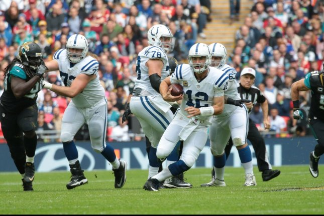 Indianapolis Colts Quaterback Andrew Luck runs with the football in their match against the Jacksonville Jaguars at Wembley Stadium, London on October 02, 2016.Jaguars won the match by 30-27. Photo by Hugo Philpott/UPI.