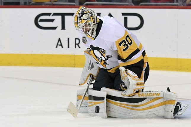 Pittsburgh Penguins goalie Matt Murray (30) warms up at the Verizon Center in Washington, D.C. on May 10, 2017, in game seven of the second round of the Stanley Cup Playoffs. File photo by Mark Goldman/UPI