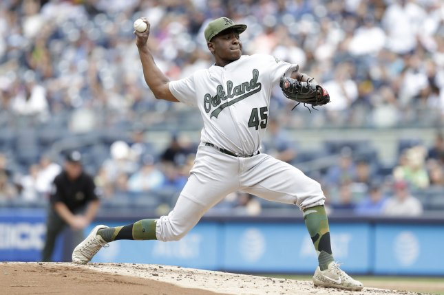 Oakland Athletics starting pitcher Jharel Cotton throws a pitch in the first inning against the New York Yankees. File photo by John Angelillo/UPI