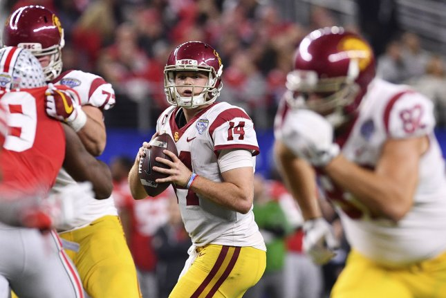 USC Trojans quarterback Sam Darnold (14) looks for a receiver in the Goodyear Cotton Bowl Classic on December 29, 2017 at AT&T Stadium in Arlington, Texas. File photo by Shane Roper/UPI