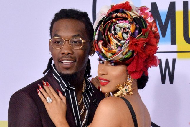 Cardi B (R), pictured with Offset, shared a cute picture of their baby girl Wednesday. File Photo by Jim Ruymen/UPI