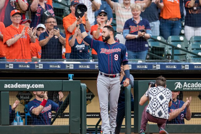 Minnesota Twins infielder Marwin Gonzalez suffered a strained right hamstring against the Boston Red Sox on Tuesday night. He was pulled for pinch hitter Max Kepler in the sixth inning. File Photo by Trask Smith/UPI
