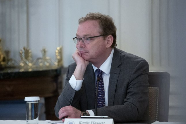 Senior adviser Kevin Hassett will leave the White House after a brief volunteer stint to help the Trump administration deal with the economic disruptions of the coronavirus pandemic. File photo by Stefani Reynolds/UPI