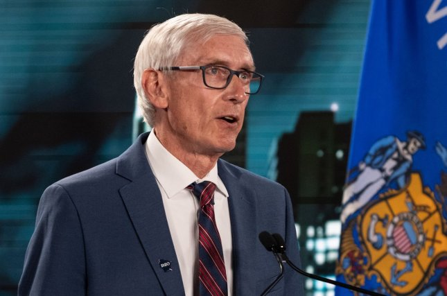 Wisconsin Gov. Tony Evers announced Wednesday that the state will open a 530-bed alternate care facility at the Wisconsin State Fair Park to relieve stress on its hospital system after reporting more than 800 COVID-19 hospitalizations.Pool Photo by Stephen Voss/UPI