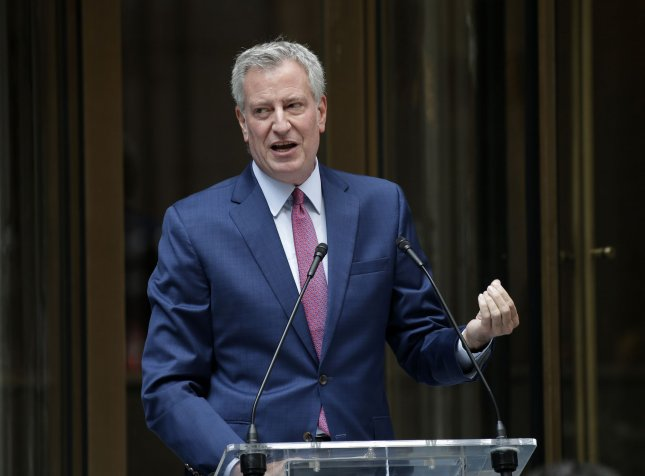 New York City Mayor Bill de Blasio said Thursday's lawsuit is making good on a threat he made weeks ago to fight the Trump administration in court if it threatened the city's federal funding. Photo by John Angelillo/UPI